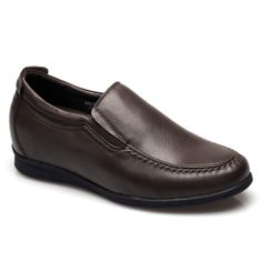 Tan Leather Elevator Insole Casual Shoes With Lifts For Man