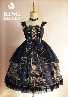 King Eleven -The Demon King of This Universe- Lolita High Waist JSK with Overskirt,Lolita Dresses, Vestidos Fashion, Old Fashion Dresses, Fashion Outfits, Pretty Outfits, Pretty Dresses, Beautiful Dresses, Cute Outfits, Emo Outfits, Kawaii Dress