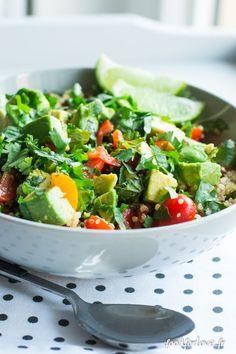salade quinoa lentille avocat-3 Salad Recipes Healthy Vegetarian, Easy Healthy Recipes, Salad Recipes Video, Salad Recipes For Dinner, Healthy Diners, Quinoa Salat, Avocado, Winter Food, Salads
