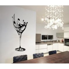 ColorfulHall X Black Abstract Elegant Wine Glass Wall Decal Kitchen Wall Sticker Removable Vinyl Kitchen Decoration Wine Wall Art, Glass Wall Art, Large Wall Art, Wine Art, Dining Room Art, Living Room Decor, 3d Wallpaper For Walls, Kitchen Wall Stickers, Elegant