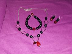Set D: Black Pearl with Red Drops, Gothic Style. Necklace Bracelet and Earrings