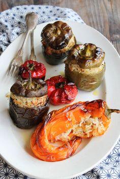 Poivrons farcis au riz {vegan - sans gluten} - aime & mange