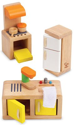 $19.99 Kitchen - This kitchen set features everything kids will need to spend the day cooking, cleaning, and preparing all the meals their dollhouse family would need. Ages 3-8 yrs