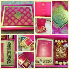 Fancy Indian Wedding Invite. Pink and Gold themed wedding.