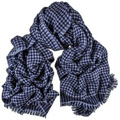 Two Tone Blue Houndstooth Cashmere Ring Shawl ($320) ❤ liked on Polyvore featuring accessories, scarves, fringe scarves, blue shawl, embroidered scarves, blue scarves and houndstooth shawl