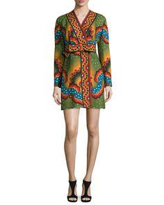 VALENTINO Star & Stripe Kimono-Sleeve Wrap Dress, Green/Blue/Spice. #valentino #cloth #