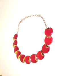 Charel Lucite Thermoset Necklace red and silver by designfrills, $32.00 less 50% through 2/9