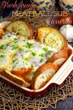 Asiago cheese stuffed meatball bake