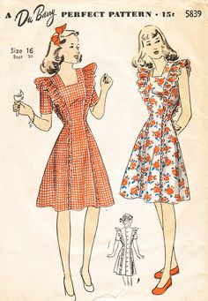 1940s Misses Pinafore Frock or Dress in Two by BettieJoVintage