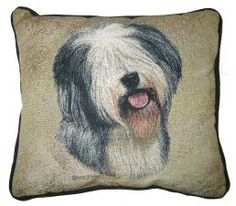 Old English Sheepdog Tapestry Cushion Dog Cushions, Old English Sheepdog, Tapestry Design, Dog Design, Dog Owners, Throw Pillows, Dogs, Pictures, British
