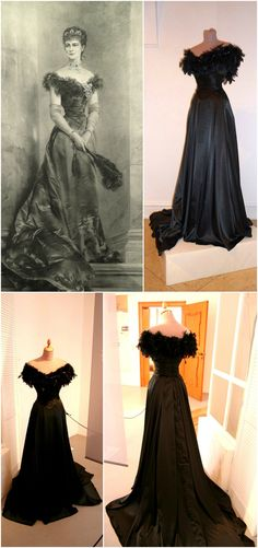 """Joseph Koppay's post-1898 portrait of Empress Elisabeth of Austria in a low-cut evening dress of patterned damask, and a replica of the gown by Mónika Czédly of D'Elia Salon. The portrait is one of many posthumous images created of the empress. Photos: Alexandra-Victoria on Liveinternet Russia; waldi on Elisabethforum.proboards.com (credit: Mónika Czédly); """"Mythos Sisi"""" article on Myheimat.de."""