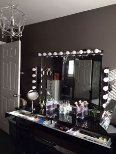 makeup vanity. vanity mirror. organize makeup. makeup storage. makeup display. ikea vanity. ikea. youtube background. beauty room. beauty room tour. chiclypoised.