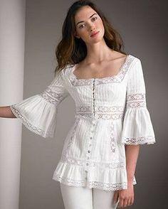 Beautiful portrait neckline and lace detailed blouse Blouse And Skirt, Blouse Dress, Lace Dress, Kurta Designs, Blouse Designs, Boho Fashion, Fashion Dresses, Womens Fashion, White Outfits