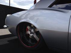 "Pro touring big block 1967 Camaro ""silver bullet"" on 22s @ Goodguys show. grey silver red interior boze 6 spoke wheels ZE deep lip slammed tubbed speed freak"