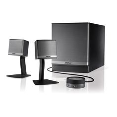 Bose COMPANION 3 II Graphite Multi-Media Speaker Premium stereo performance for those who prefer a three-piece computer sound system Two small desktop speakers deliver lifelike stereo sound Hideaway Acoustimassreg