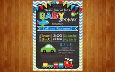 Transporte bebé ducha invitación coches por PopofColorDesigns
