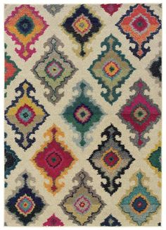 Bungalow Rose Terrell Tribal Ivory/Multi Area Rug