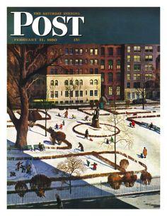 """Gramercy Park"" Saturday Evening Post Cover, February 11, 1950 Giclee Print by John Falter at Art.com"