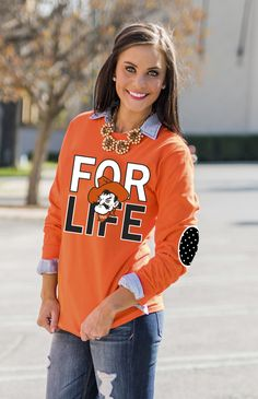OKLAHOMA STATE 'FAN FOR LIFE' ELBOW PATCH TEE