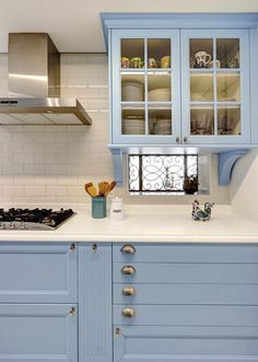 """Cozinha Design Weekend Ornare Ornare  Viva Decora - 21217"".........I LOVE BLUE CABINETS SUCH AS THESE........I LOVE A BLUE AND WHITE KITCHEN.........ccp"