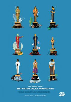 Illustrator Olly Gibbs has for years cleverly illustrated the Academy Awards nominees with their own custom Oscar statue. The post Oscar Nominated Movies Represented With Custom Illustrated Awards appeared first on Moss and Fog. Pixar Movies, Top Movies, Movie Facts, Funny Facts, Random Facts, Movie Blog, I Movie, Oscar Nominated Movies, Best Picture Nominees