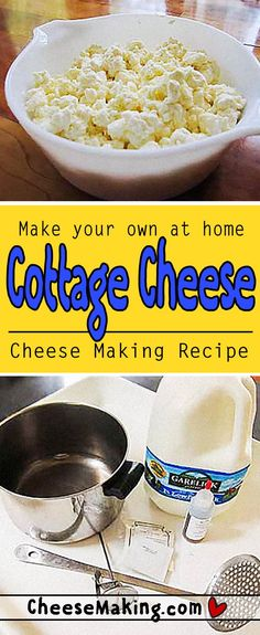 It's easy to make your own Cottage Cheese at home. With this fantastic recipe you can enjoy fresh homemade Cottage Cheese in no time. It even includes history and fun facts about Cottage Cheese! Cheesemaking.com