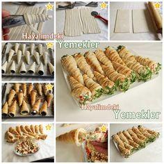 Peynirli Biberli Milföy Külahları Puff Pastry Cones with Cheese Baking Recipes, Cookie Recipes, Dessert Recipes, Desserts, Bread Cones, Appetizer Buffet, Vegan Cafe, Bread And Pastries, Snacks