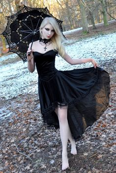 Gothic Girl Long Blonde Hair Black Dress Parasol ♥ thedeliciousness.net (18+) ♥