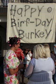 White-Trash Party: happy burfday banner made with a sheet Redneck Birthday, Redneck Party, Redneck Gifts, Daddy Birthday, 3rd Birthday, 30th Party, 30th Birthday Parties, Shakira, Junk Food