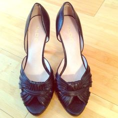 Aldo high-heels Black leather peep-toe heels. Excellent condition, only worn once. These are adorable but too small for me. Size 38 ALDO Shoes Heels