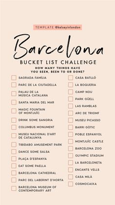 Barcelona bucket list travel to italy, us travel, spain travel, travel list, travel Travel Checklist, Travel List, Travel Goals, List Challenges, Barcelona Travel, Voyage Europe, Instagram Story Template, I Want To Travel, Future Travel
