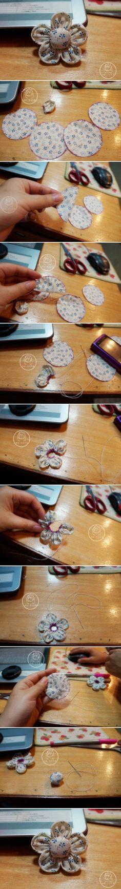 DIY Quick Handmade Fabric Flower DIY Quick Handmade Fabric Flower. Would make super cute barrettes.