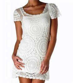 Delicadezas en crochet Gabriela: Vestido de motivos que hacen punto. Esquemas de selección.
