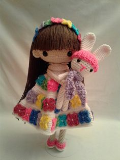 SEPTEMBER & BUNNY Crochet Amigurumi Doll - Crochet Girl Doll - Easter Girl