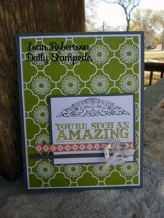 Stampin' Up! Demo Joan Robertson's Daily Stampede card featuring Amazing Family and International Bazaar DSP