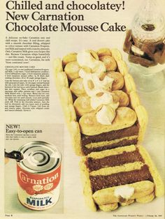 This old recipe from the uses Ladyfingers, or sponge fingers, to make a delicious Chocolate Mousse Cake. Retro Recipes, Vintage Recipes, Chocolate Mousse Cake, Food Advertising, Vintage Cooking, Cupcake Cakes, Cupcakes, Delicious Chocolate, No Bake Desserts