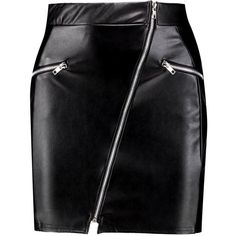 Boohoo Louise Zip Front Leather Look Mini Skirt ($26) ❤ liked on Polyvore featuring skirts, mini skirts, midi skirt, mid calf skirts, faux leather mini skirt, short skirts and short mini skirts