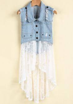 Blue Lapel Ripped Denim Contrast White Lace Dress zł72.87