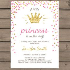 Princess Baby shower Invitation Princess shower Pink and gold