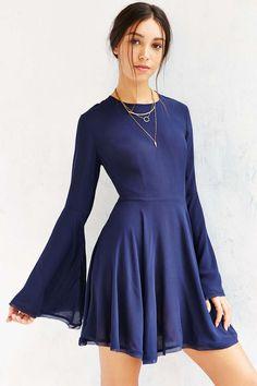 d9bd011e62 Ecote Sascha Bell Sleeve Dress in Blue Lyst