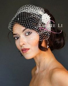 Clara Round Pearl Brooch  WHITE Crystal Birdcage Veil Bridal 2730242a Leslie Li *** Click on the image for additional details.-It is an affiliate link to Amazon. #BridalVeils
