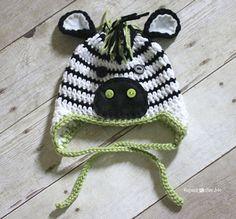 Crochet Zebra Hat  - free zebra crochet pattern