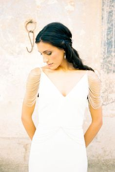 Gorgeous beaded shoulder wedding dress: http://www.stylemepretty.com/little-black-book-blog/2016/02/04/modern-boho-meets-british-bridal-inspiration/ | Photography: Ashlee Taylor - http://www.ashleetaylor.com/