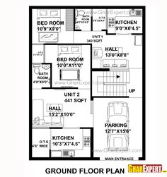 House Plan for 30 Feet by 40 Feet plot (Plot Size 133 Square Yards) 2bhk House Plan, Narrow House Plans, Small House Floor Plans, House Layout Plans, Duplex House Plans, Apartment Floor Plans, Family House Plans, Best House Plans, Dream House Plans