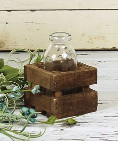 *diy a small crate to put a mason jar in. Fill with flowers, utensil, candy, etc* This Honey and Me | Bottle & Crate Set by Honey and Me is perfect! #zulilyfinds