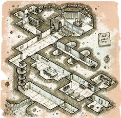 Miska Fredman The Temple of Judgement isometric map cartography | Create your own roleplaying game material w/ RPG Bard: www.rpgbard.com | Writing inspiration for Dungeons and Dragons DND D&D Pathfinder PFRPG Warhammer 40k Star Wars Shadowrun Call of Cthulhu Lord of the Rings LoTR + d20 fantasy science fiction scifi horror design | Not Trusty Sword art: click artwork for source