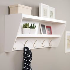 Floating Entryway Shelf & Coat Rack in White - Prepac your foyer with a smart and stylish storage solution, ready for anything your family can throw at it. This modern shelf features 5 solid metal hooks that provide a perfect perch Wall Shelf With Hooks, Mounted Shelves, Wall Mounted Coat Rack, Hanging Shelves, Hanging Rail, Shelf Display, Rack Shelf, Mounted Tv, Shelf Brackets
