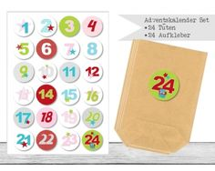 "www.papierbuedchen.de - DIY Adventskalender "" Tüten & Aufkleber "" (K47)"