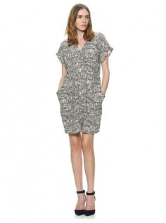 Whistles Jessica Cross Hatch print dress, £110 - monochrome fashion trend - Woman And Home