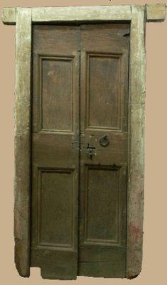 Porta in legno di castagno spazzolato a poro aperto for Porte interne antiche